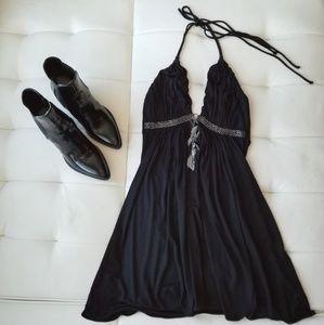 Sky Black V-neck Halter Dress with Chain detail.